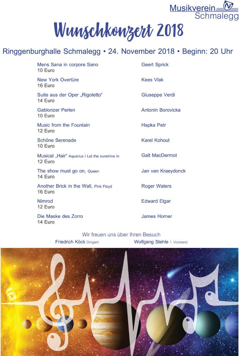 Programm Wunschkonzert 2018