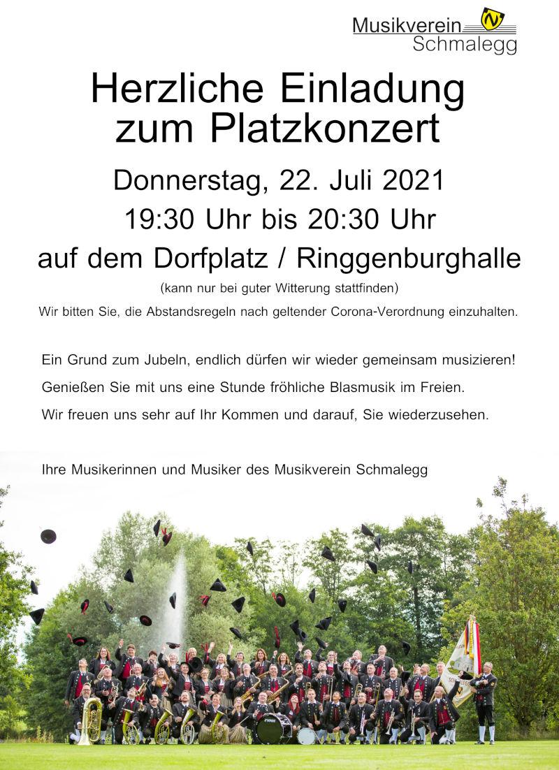 Plakat Einladung zum Platzkonzert 2021